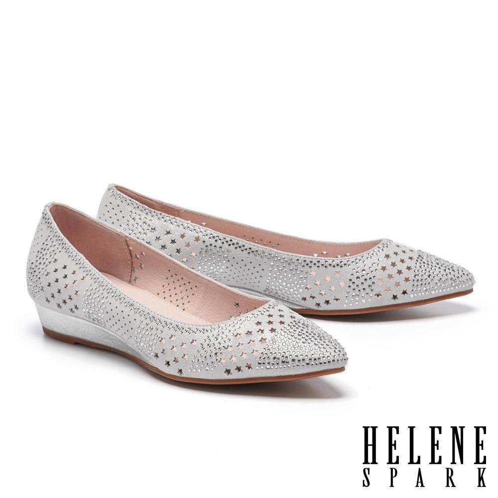 低跟鞋 HELENE SPARK 星星沖孔排鑽全真皮楔型低跟鞋-銀