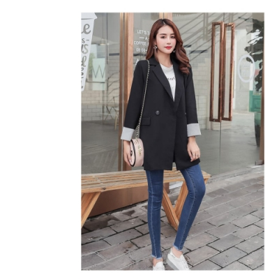 2F韓衣-韓系經典款中長版西裝外套-黑2XL