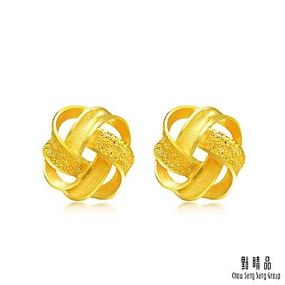 點睛品 炫麗彩帶黃金耳環耳釘_計價黃金