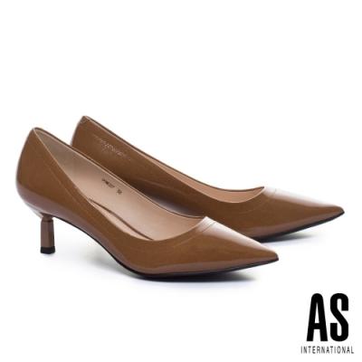 高跟鞋 AS 極簡品味質感牛軟漆皮素面尖頭高跟鞋-咖