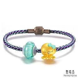 八爪章魚 琉璃黃金串珠手環