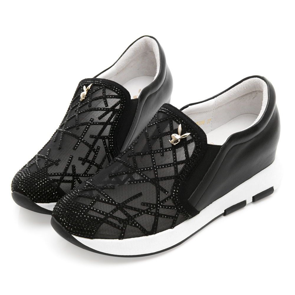 PLAYBOY 奢華晶鑽內增高休閒鞋-黑-Y5299CC