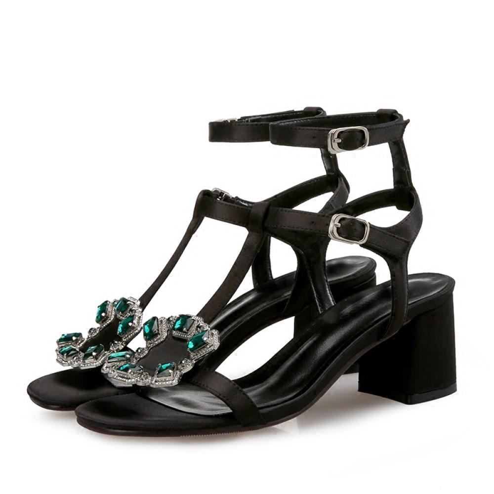 Cinderella Fashions 方形鑽飾雙層繫帶涼鞋-黑色