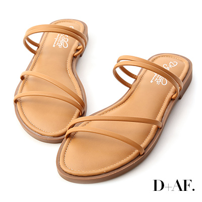 D+AF 清涼夏氛.四條線Q軟墊平底涼鞋*棕