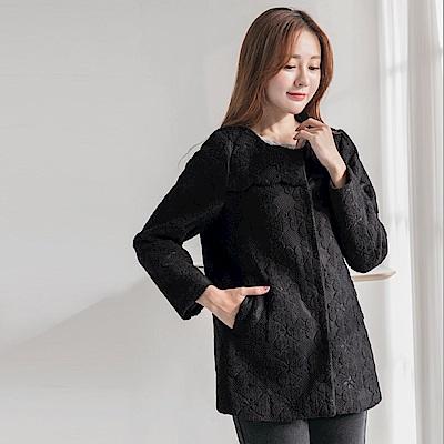 細緻磨毛蕾絲花邊造型長袖外套-OB大尺碼