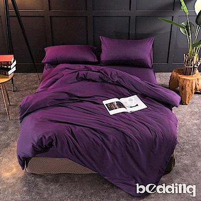 BEDDING-活性印染日式簡約純色系加大雙人薄式床包枕套三件組-萌紫色