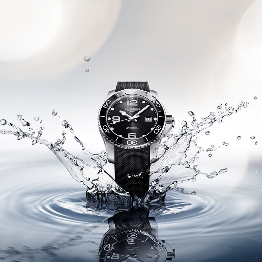 LONGINES 浪琴 深海征服者浪鬼陶瓷潛水機械錶-黑x43mm