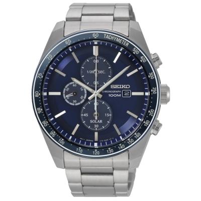 SEIKO精工 Criteria 都會傳說太陽能競速計時男錶(SSC727P1)-銀x藍/44mm