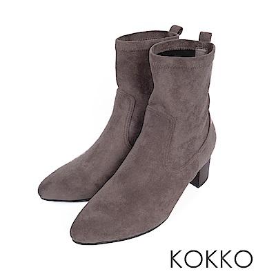 KOKKO-逆天纖細美腿彈力尖頭襪靴-紳士灰