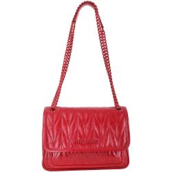 miu miu 搪瓷金屬鍊帶小牛皮肩背包(紅色)