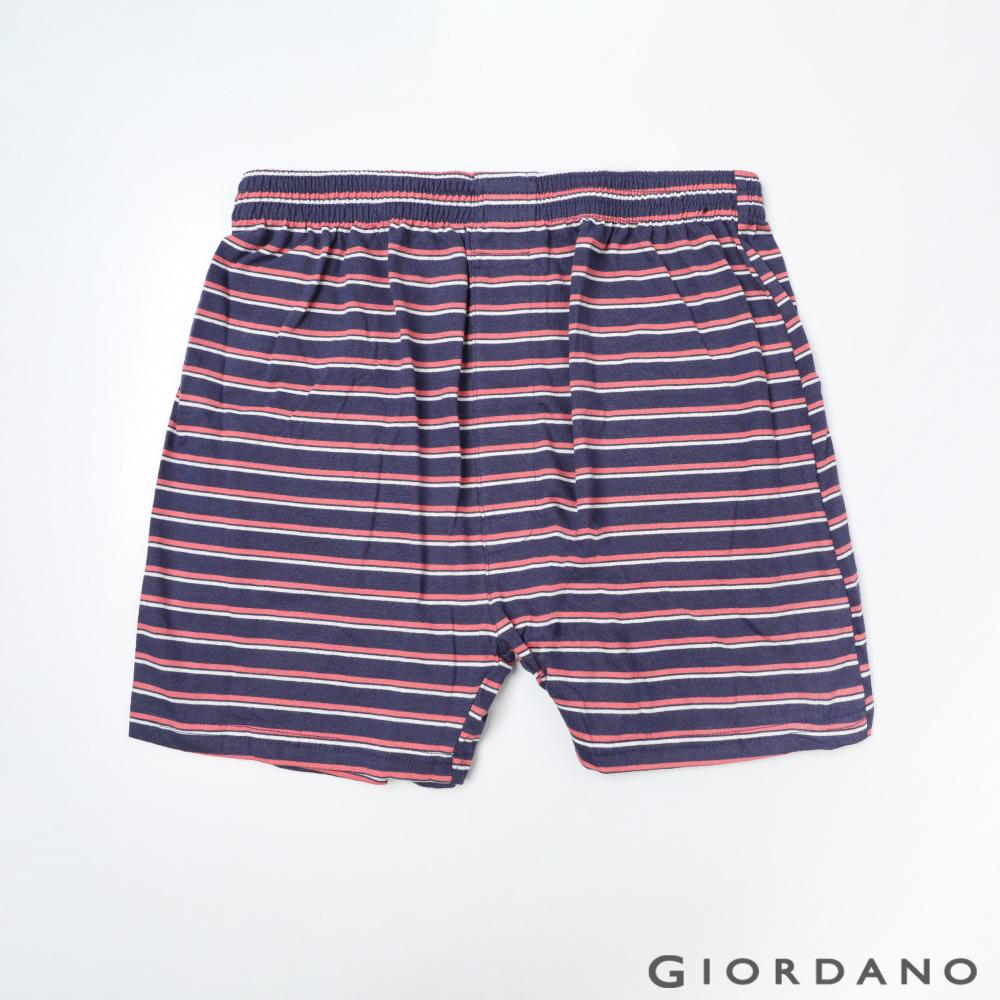 GIORDANO 男裝高品味沈穩條紋配色四角褲-90 紅/藍