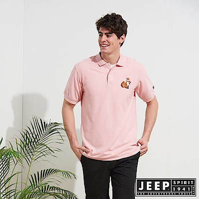JEEP 簡約狐狸圖騰舒適短袖POLO衫-粉色