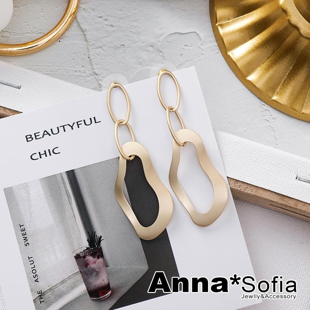 【3件5折】AnnaSofia 漣漪流線垂鍊 中大型925銀針耳針耳環(霧啞金系)