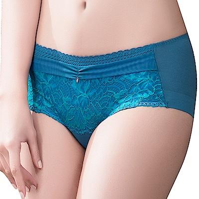 思薇爾 撩波葉之舞系列M-XL蕾絲中低腰平口內褲(窿島藍)