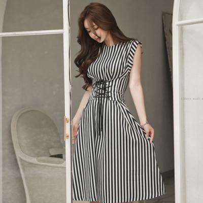 IMStyle 韓版時尚條紋綁帶縮腰連身裙【正品】