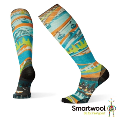 SmartWool PhD滑雪超輕量減震PRINT高筒襪-SW 25周年 彩色