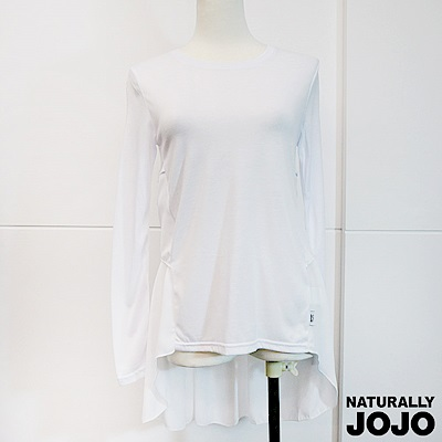 【NATURALLY JOJO】後波浪素雅剪接上衣(白)