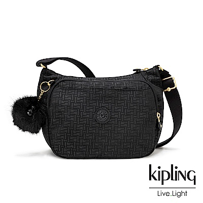 Kipling黑色幾何紋路雙層側背包-CAI