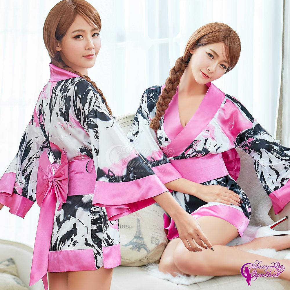 Sexy Cynthia角色扮演 復古風輕熟女日式和服角色扮演服二件組-粉F