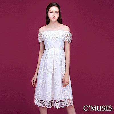一字領蕾絲壓褶短禮服-OMUSES