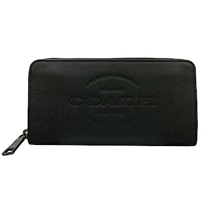COACH 壓印LOGO牛皮ㄇ型拉鍊12卡長夾(黑)
