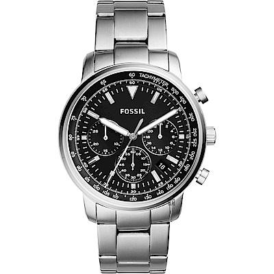 FOSSIL 都會摩登計時手錶-黑x銀/44mm FS5412