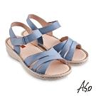 A.S.O機能休閒 輕量樂活經典版型設計休閒涼鞋-淺藍