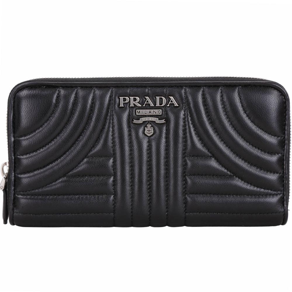PRADA Diagramme 絎縫納帕羊皮拉鍊長夾(黑色)