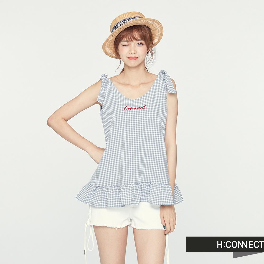 H:CONNECT 韓國品牌 女裝 -雙綁結格紋背心-灰(快) @ Y!購物