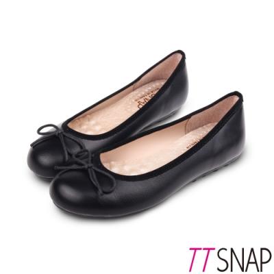 TTSNAP娃娃鞋-MIT簡約舒適OL必備平底鞋 黑