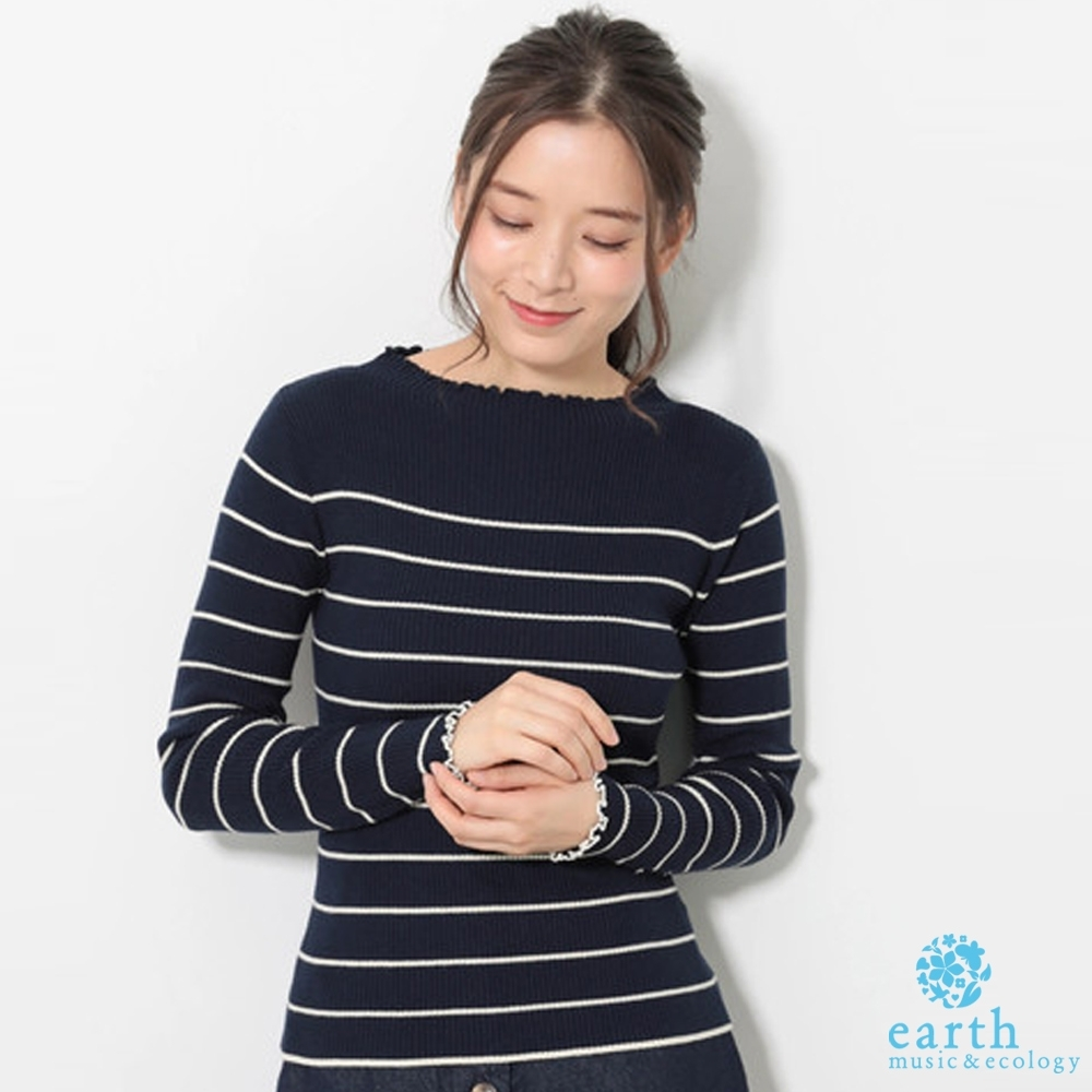 earth music 荷葉領口素面/條紋針織上衣