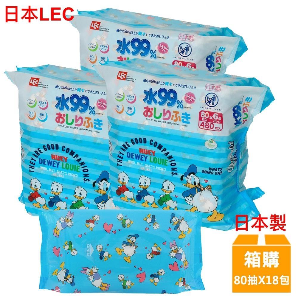 日本LEC 迪士尼唐老鴨-純水99%濕紙巾-80抽x18包/箱