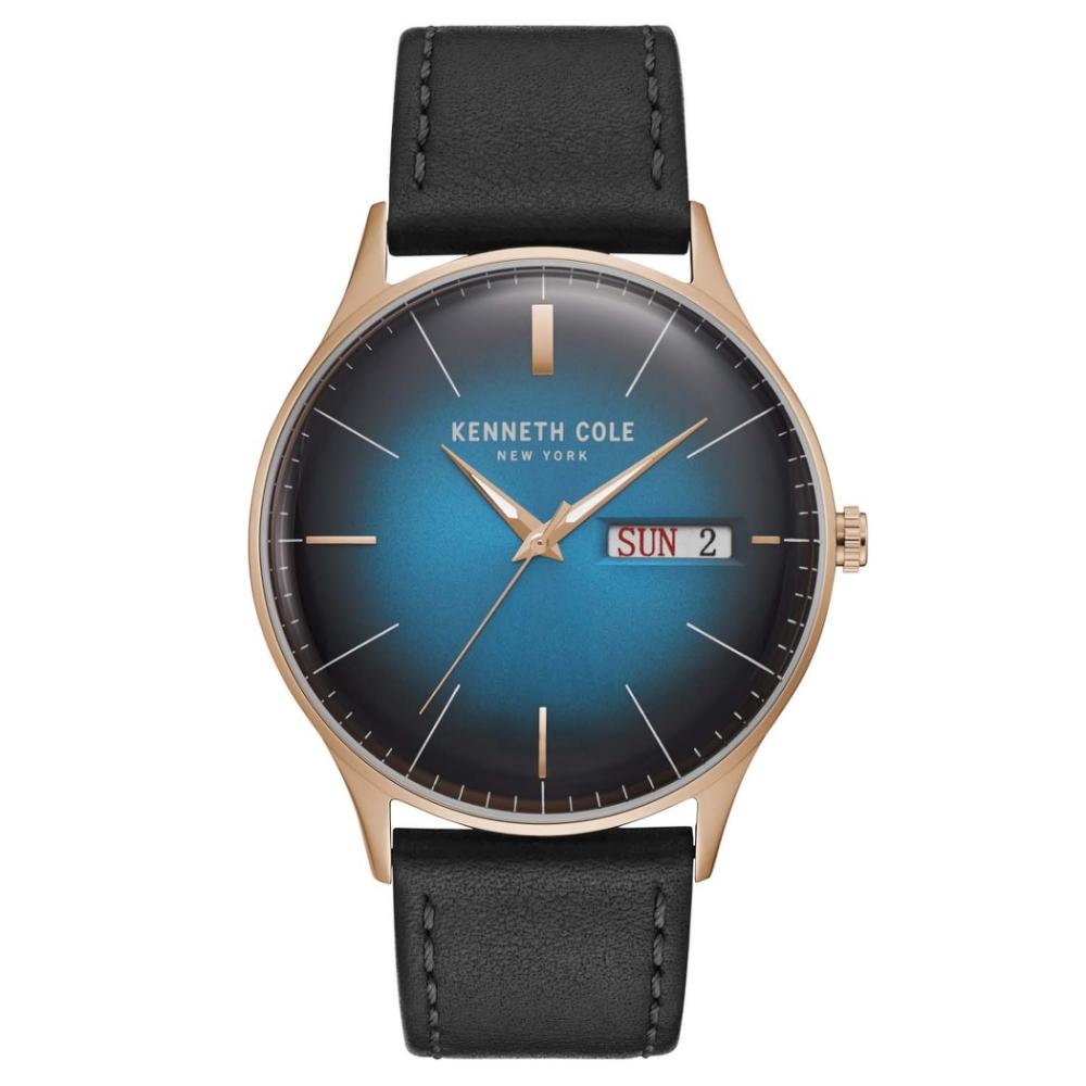 KENNETH COLE KC50589013 凸型鏡面 真皮錶帶 玫瑰金 漸層星空藍