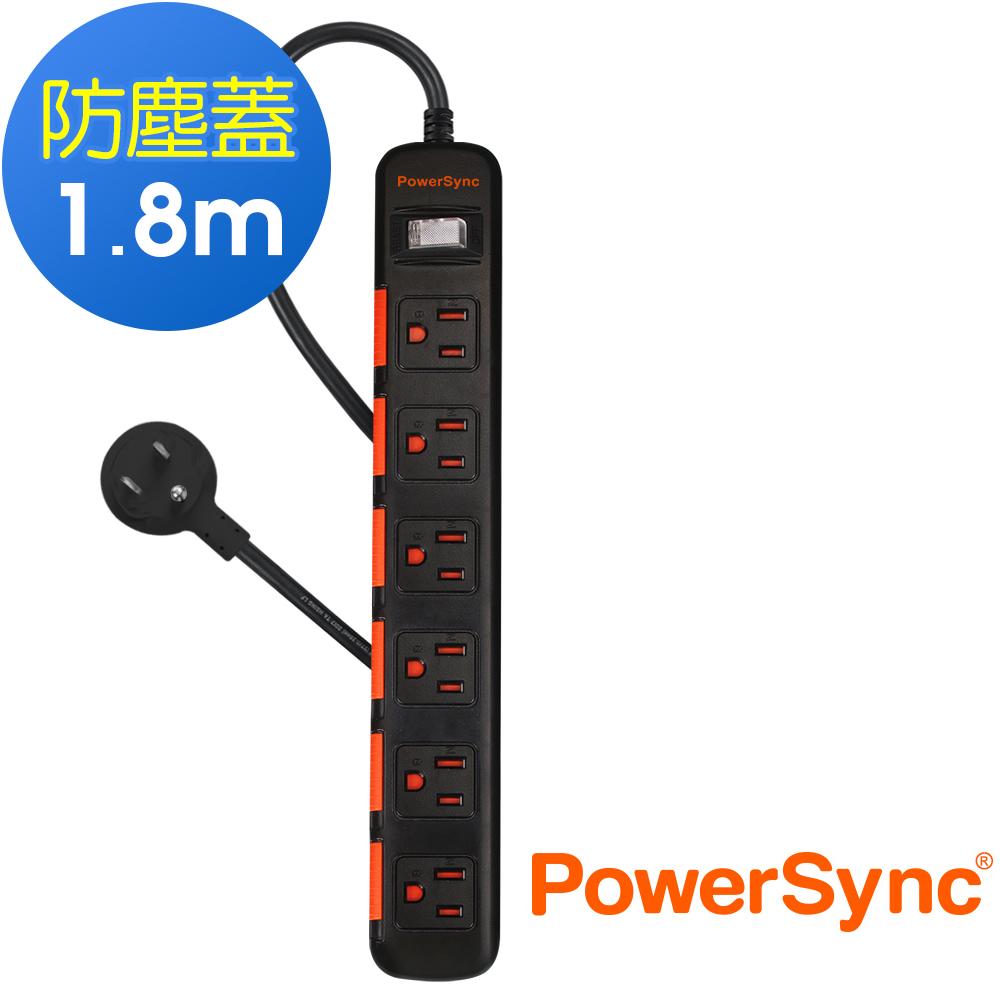 群加 PowerSync 一開六插滑蓋防塵防雷擊延長線/1.8m/TPS316DN0018