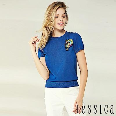 JESSICA - 輕甜金蔥徽章造型針織上衣(藍)