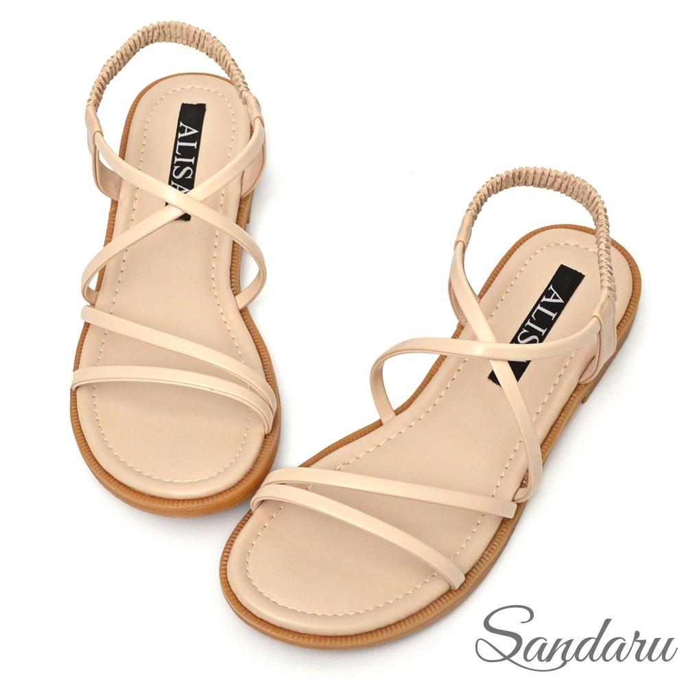 山打努SANDARU-涼鞋 質感霧面交叉線條鬆緊平底涼鞋-米 (米)