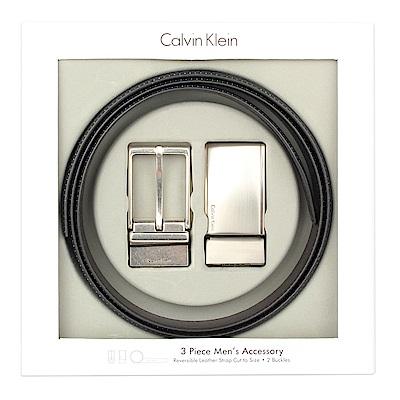 Calvin Klein 霧面金屬LOGO雙釦皮帶禮盒-黑色
