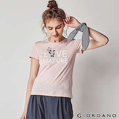 GIORDANO 女裝可愛熊貓短袖印花T恤-42 薄紗粉紅
