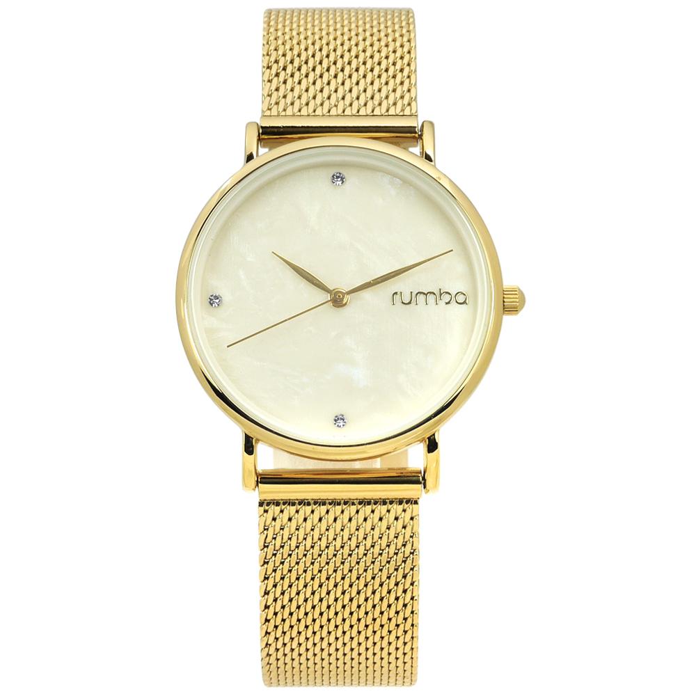 rumba time 紐約品牌 珍珠母貝 晶鑽 米蘭編織不鏽鋼手錶-米黃x鍍金/32mm