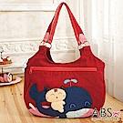 ABS貝斯貓 微笑貓咪騎鯨拼布包 手提包 肩提包(活力紅)88-172