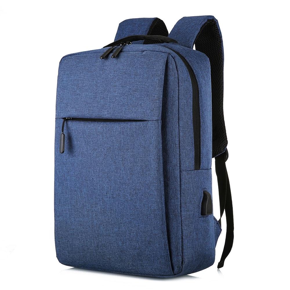 【KISSDIAMOND】耐刮減震USB充電雙肩背包(後背/筆電/商務/旅行/出差/藍色)
