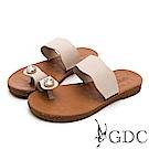 GDC-超Q軟舒適春夏必備波浪水鑽夾腳拖鞋-米色