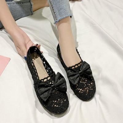 KEITH-WILL時尚鞋館 日本設計蝴蝶結森系簍空平底鞋-黑