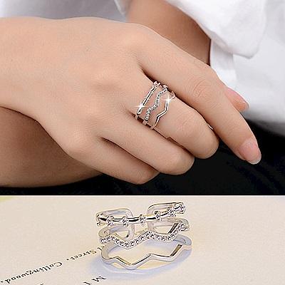 梨花HaNA 韓國925銀三層曲線鑽飾層次戒指