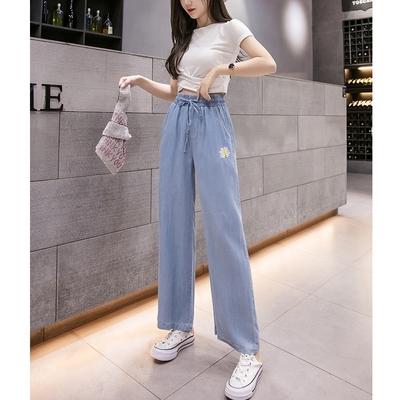 UGIZ-(限時)簡約刺繡點綴天絲棉造型闊腿褲-藍色(S-2XL)