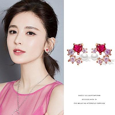 梨花HaNA 韓國925銀質感出眾氣質桃紅珠寶花飾耳環
