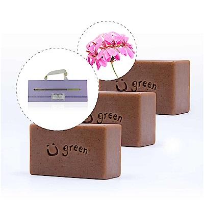 綠優園-天然植萃手工皂潤膚皂-冰花天竺葵三入盒裝