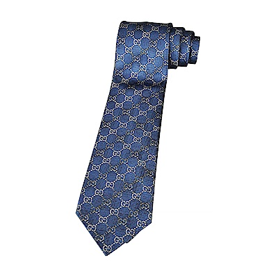 GUCCI經典GG緹花LOGO菱格紋設計蠶絲領帶(丈青藍)