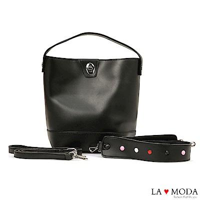 La Moda 百搭經典不敗款多種背法大容量肩背斜背水桶包(黑)