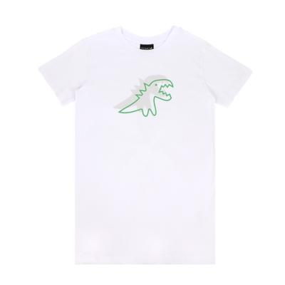 agnes b. - Sport b. 恐龍印花圓領長版短袖上衣(女)(白)